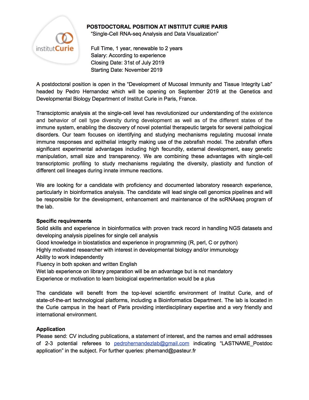 Postdoctoral Fellow Institut Curie graphic