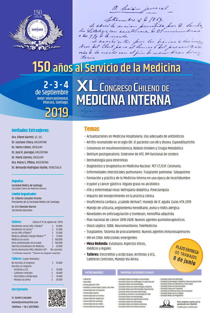 XL CONGRESO CHILENO DE MEDICINA INTERNA 2019 graphic