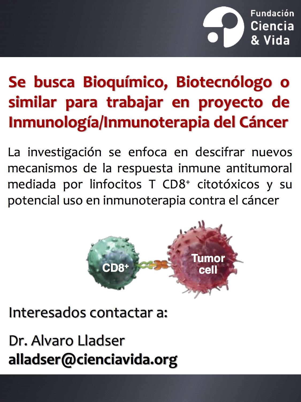 Oferta Posición Laboral Proyecto de Inmunología eInmunoterapia del Cáncer graphic