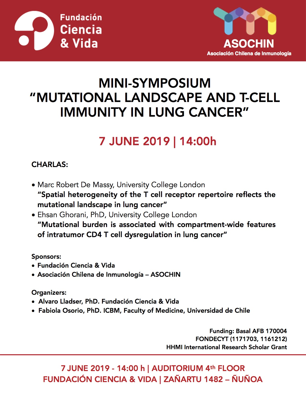 """Invitación Mini-Symposium """"Mutational landscape and T cell immunity in lung cancer graphic"""