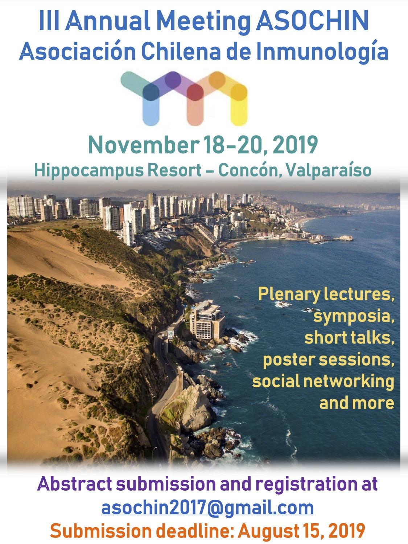 Invitación para la III Reunión Anual ASOCHIN, Concón, Chile graphic