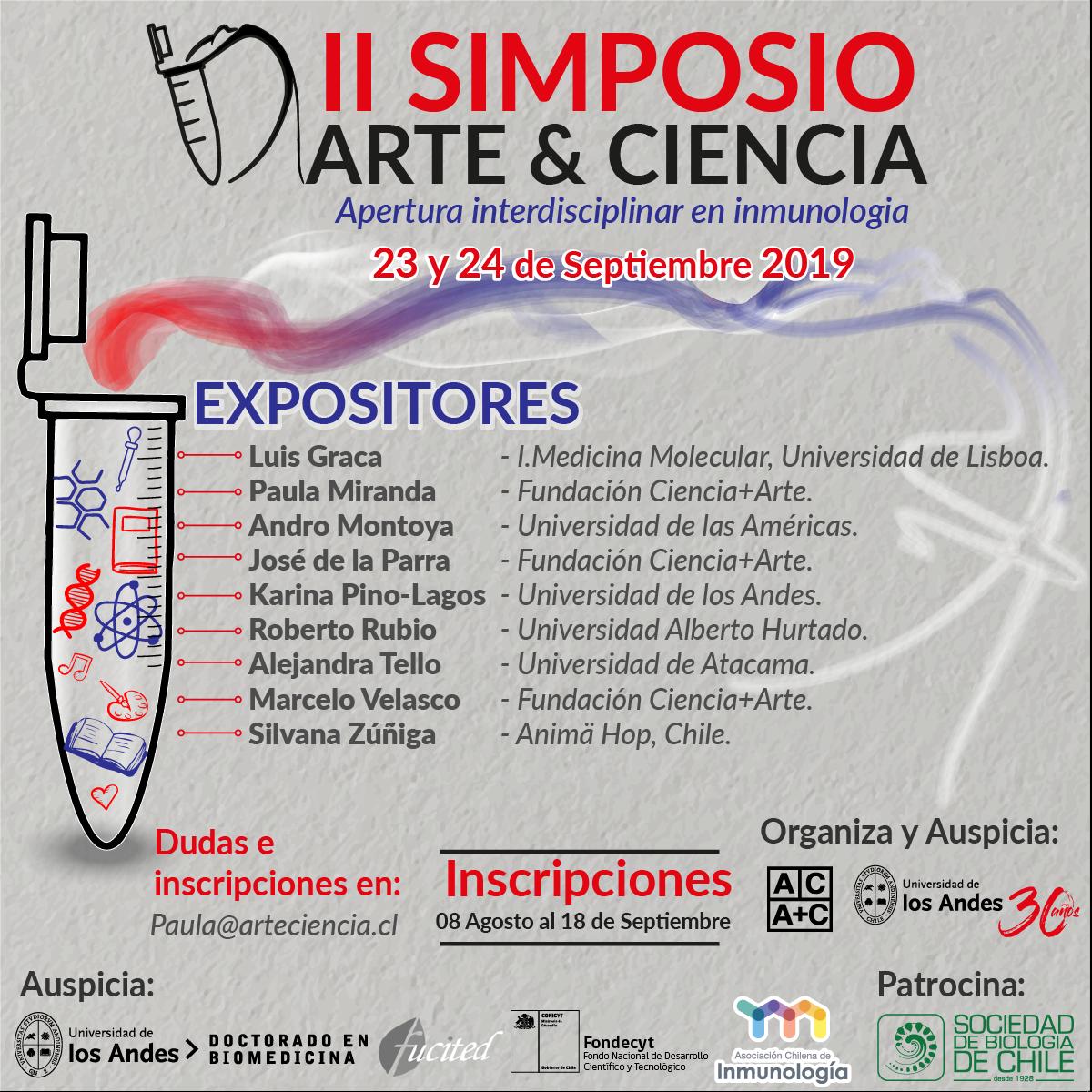II Simposio Arte y Ciencia, 23-24 sept 2019, Aula Magna del Edificio de Humanidades de la Universidad de los Andes graphic