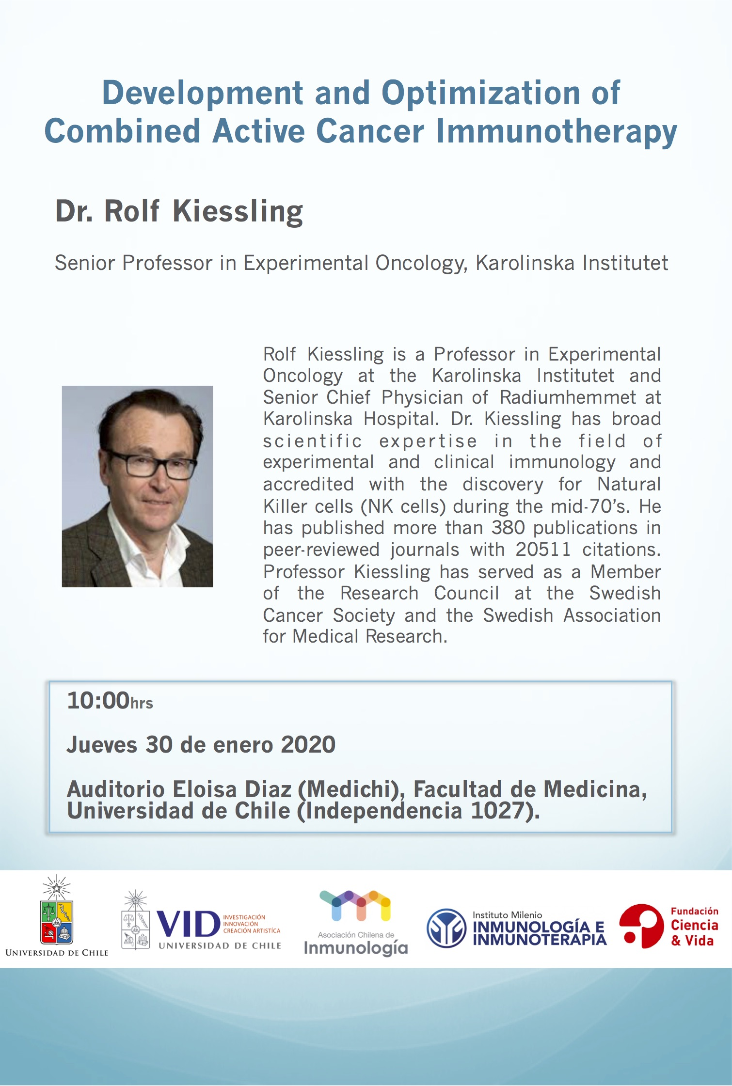 Seminario Dr. Rolf Kiessling: Development and Optimization of Combined Active Cancer Immunotherapy graphic